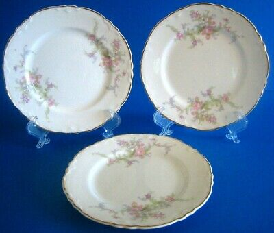 3 Bread Butter Plates WS George Radisson Pink Lavender Flowers Gold Antique