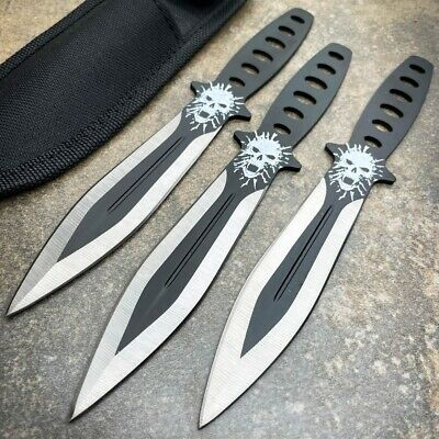 "3Pc 8"" Sharp Tactical Ninja Combat Naruto Kunai Throwing Knife Set Hunting +Case"