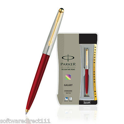 Parker Galaxy Standard GT Gold Trim Ball Pen (Red) Original Brand New in Box