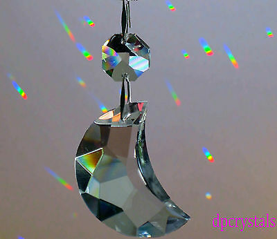 Hanging Moon Crystal Sun Catcher Feng Shui Rainbow Prism Swarovski Octagon