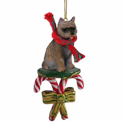 CAIRN TERRIER Brindle Dog Candy Cane Christmas Tree ORNAMENT