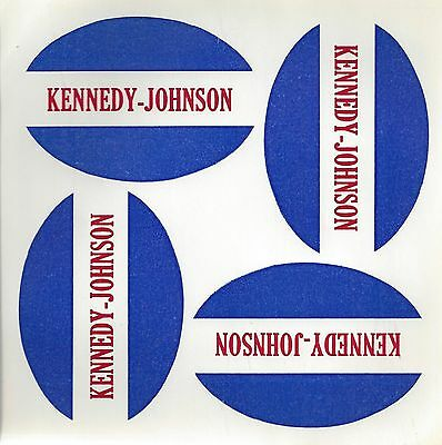 1960 KENNEDY - JOHNSON ORIGINAL UNUSED BUTTON PAPER FOR FOUR BUTTONS