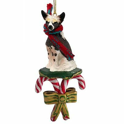 Chinese Crested Dog Candy Cane Christmas Tree ORNAMENT