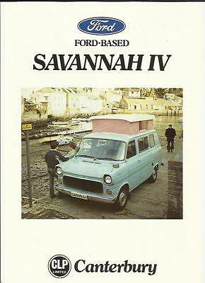 Ford Based Savannah Iv Canterbury Motorhome Sales 'brochure'/sheet 1977