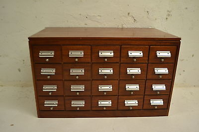STUNNING VINTAGE MAHOGANY CHEST OF 20 FILE MULTI CHEST OF DRAWERS