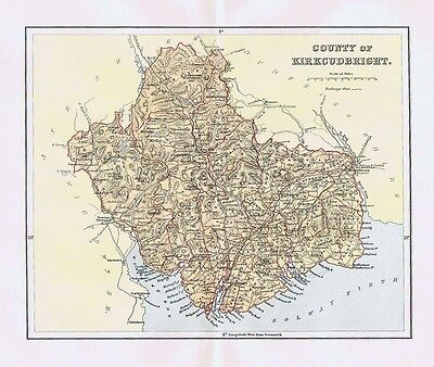 KIRKCUDBRIGHTSHIRE County of Kirkcudbright - Antique Map 1896
