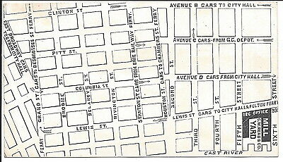 New York City Lumber Yard Trade Card w/Street/Transport Map of Vicinity, c1890
