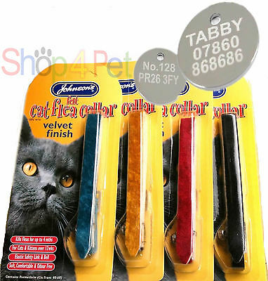 Cat FLEA Collar in Velvet JOHNSONS  With or Without a ENGRAVED PET ID TAG / Tags