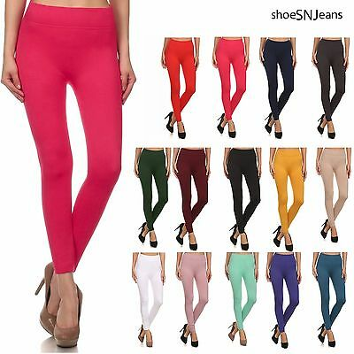 New Fleece Lined Leggings Solid Colors Jeggings Stretch Skinny Warm Pants