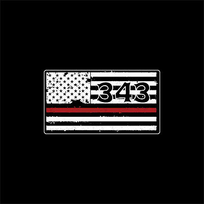 Firefighter 343 American Flag Sticker with Red Fire Stripe 100-88