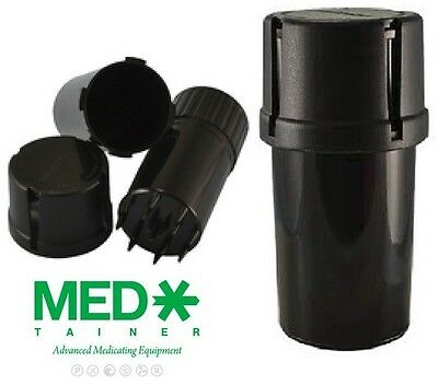 ONE of BLACK MEDTAINER Storage Containers w/ Built-In Grinder Air & Water Tight
