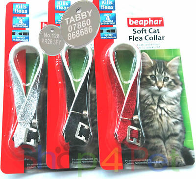 Beaphar Reflective Glitter Cat Flea Collar, With or Without  Engraved Pet ID Tag