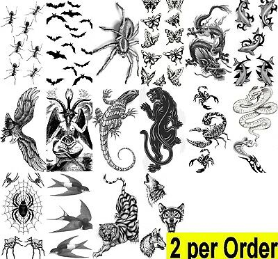 Waterproof 2 Temporary Fake Tattoo faux tatouage-Animal-Insect-Reptile Halloween