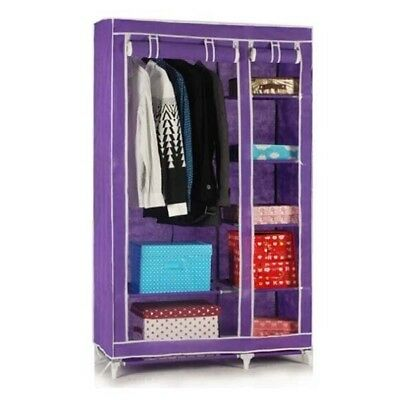 Brand New Portable Home Wardrobe Clothes Organiser Closet Cabinet Purple