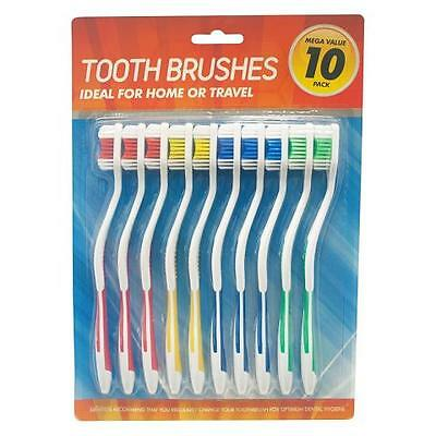 10 x Adult Tooth Brushes Teeth | Dental Travel | Red | Blue | Yellow | Green |