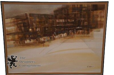 Vintage Urban Cityscape Landscape Signed Watercolor Painting W. Cyphers Abstract