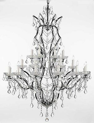 "19th C. Rococo Iron & Crystal Chandelier Lighting H 52"" x W 41"""