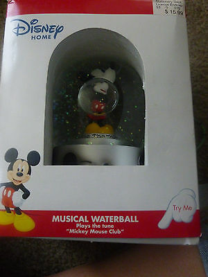 "DISNEY MUSICAL SNOW GLOBE ENESCO WATERBALL""PLAYS MICKEY MOUSE MARCH"" YOUR TOPS"
