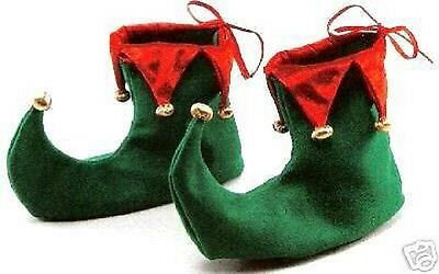 Green And Red Jester Elf Gnome Boots Shoes Christmas Xmas Fancy Dress Costume Bn