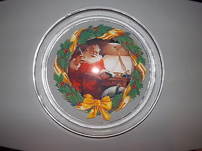 "Indiana Glass Coca-Cola Good Boys and Girls Santa Design 13"" Platter   -- NEW"
