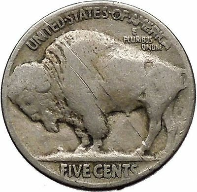 1924 BUFFALO NICKEL 5 Cents of United States of America USA Antique Coin i43666