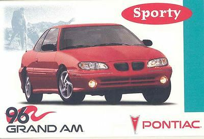 1996 Pontiac Grand Am ORIGINAL Factory Postcard my0257