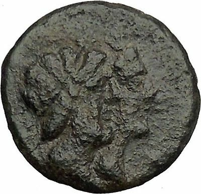 KATANE in SICILY 3rdCenBC Serapis Isis Apollo Original Ancient Greek Coin i43661