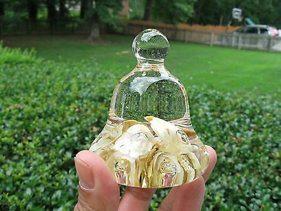 Mini Maude Bob St Clair 1980 Paperweight Flowers controlled bubble Bell Shape
