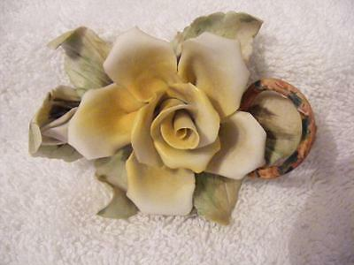Capodimonte  delicate yellow rose, and rose bud V.G.C.