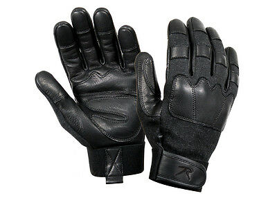 Police SWAT Military Fire & Cut Resistant Tactical Black Leather Search Gloves