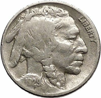 1929 BUFFALO NICKEL 5 Cents of United States of America USA Antique Coin i43720