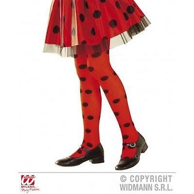 Childrens Red & Black Spotted Tights Girl Ladybug Ladybird Fancy Dress 4-6 Yrs