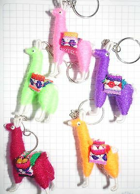 Wholesale Lot Of 100 Assorted Colorful Handmade Peruvian Llama Keychains