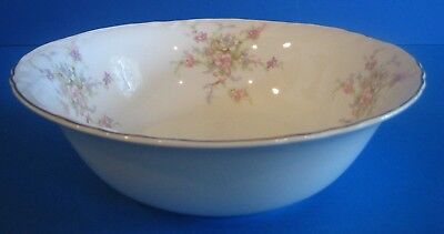 Large Round Serving Bowl WS George Radisson Pink Lavender Flowers Gold Antique