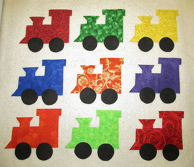 9 Colorful Train Engines  Iron-on Sew-on Quilting Clothing Fabric Appliques