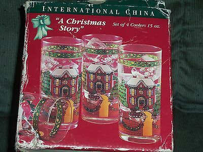 International CHRISTMAS STORY 15 Oz Cooler Glass Set of 4 NIB