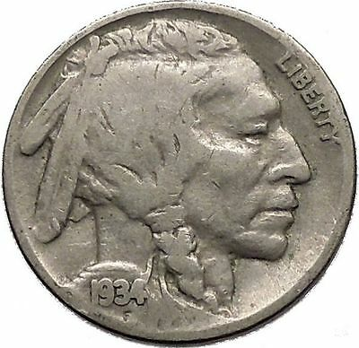 1934 BUFFALO NICKEL 5 Cents of United States of America USA Antique Coin i43755