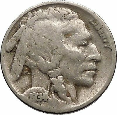 1934 BUFFALO NICKEL 5 Cents of United States of America USA Antique Coin i43762