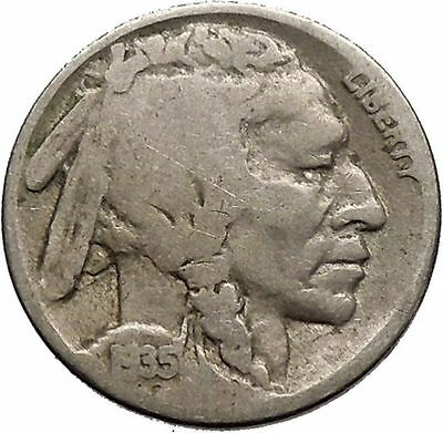 1935 BUFFALO NICKEL 5 Cents of United States of America USA Antique Coin i43771