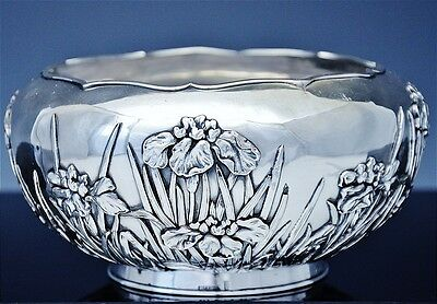 19thC JAPANESE MEIJI PERIOD STERLING SILVER ORCHID FLORAL REPOUSSE SERVING BOWL