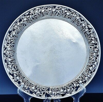 BEAUTIFUL ANTIQUE YOKOHAMA JAPANESE STERLING SILVER ORCHID SCENIC SERVING TRAY