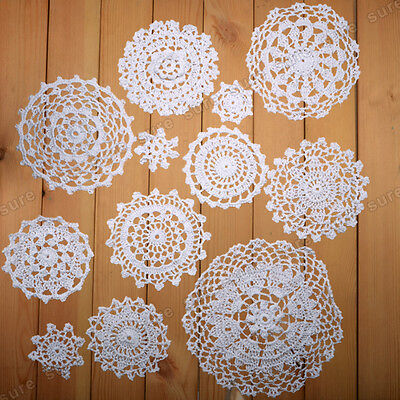 24 x Vintage-Style Doilies Coasters Lace Motifs size 5-19CM  white and beige