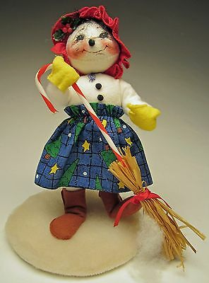 Vintage Annalee Christmas 1998 Mobility 10 inch Snow Lady with Candy Cane Broom