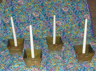 Vintage Square Brass Chinese Candlestick Holders Set 4 With Cabashon Stones