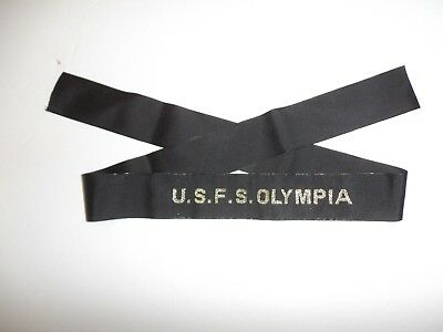 b3156  U.S.F.S. Flag Ship Olympia Hat Tally (Woven Repro) USS