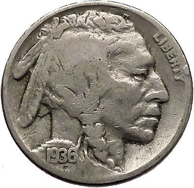 1936 BUFFALO NICKEL 5 Cents of United States of America USA Antique Coin i43867