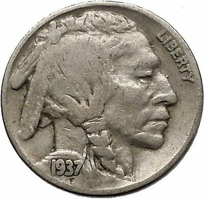 1937 BUFFALO NICKEL 5 Cents of United States of America USA Antique Coin i43874