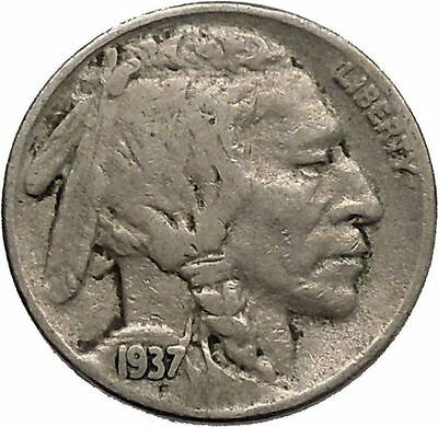 1937 BUFFALO NICKEL 5 Cents of United States of America USA Antique Coin i43879