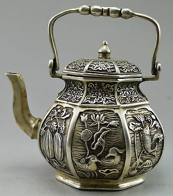 Collectible Decorated Old Handwork Tibet Silver Carved Fish Fruit Flower Tea Pot