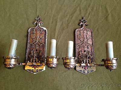 Super Nice Heavy Ornate Pair Of Antique Solid Bronze Wall Sconce Sconces